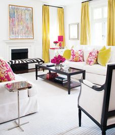 Love the strong elements of black and white with the pops of yellow and fuschia