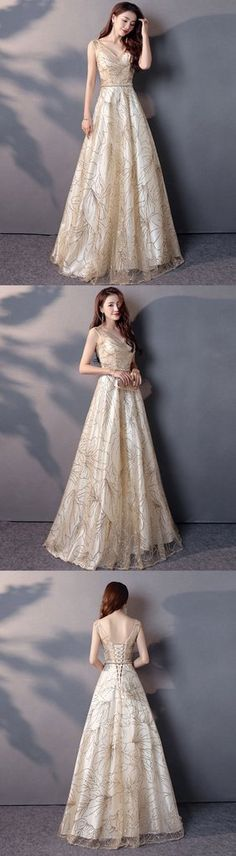 Gorgeous champagne tulle V neck prom dress, long evening gown for teens #prom #dress #promdress #promdresses