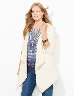 Our lightweight cascade has an openfront that beautifully drapes with falling fabric. Glitter trim gives a shimmering finish. Openfront. Long sleeves. Attached hood. Catherines tops are perfectly proportioned for the plus size woman. catherines.com