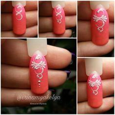 Nails University. Ногти и Маникюр пошагово. 3d Nail Art, Swirl Nail Art, Painted Nail Art, Easy Nail Art, Nail Manicure, Diy Nails, Nail Art Arabesque, 3d Nail Designs, Nail Drawing