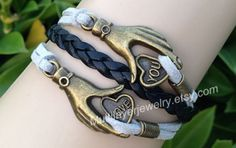 Love your bracelets,leather bracelets,hipsters jewelry, couple gifts,love you, gray and black,braided bracelets, handmade,personalized gifts