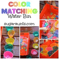 Combine color matching and water play! We encouraged fine motor skills, bilateral hand coordination, & eye-hand coordination while exploring colors. #TheSugarAunts #waterbins #waterplay #learningcolors
