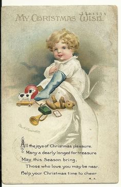 Signed Ellen Clapsaddle Christmas Wish Child with toys Teddy Bear Postcard #Christmas