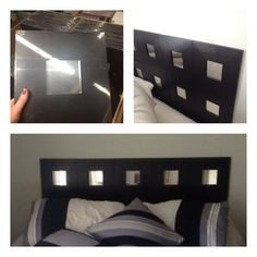 Ikea hack - quick headboard $1.99 mirrors at Ikea affixed to back of wall with mounting tape.
