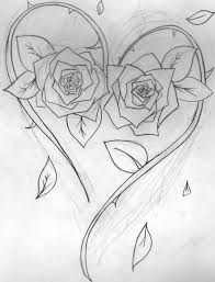 Image result for heart rose tattoo designs