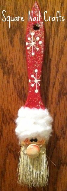 I made this cute Santa ornament using a chip brush. www.facebook.com/squarenailcrafts