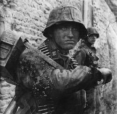 """Otto Funk of the 12th SS Panzer Division """"Hitlerjugend"""" during the Normandy invasion, Rots / La Villeneuve area."""