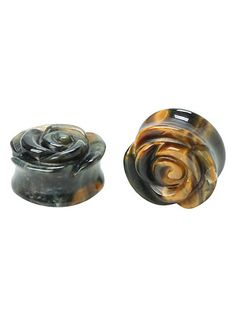Stone Tiger's Eye Rose Saddle Plug 2 Pack $24.50 [7/16]
