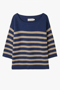 Aloft Jumper | Easy fit cotton knit jumper. In chunky stripes with flattering three quarter sleeves. Ribbed hemline and scoop neck. Looks great with slim fit jeans and pumps.