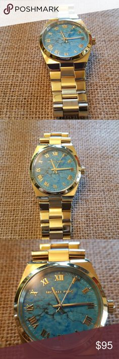 Michael Kors Turquoise & Goldtone Watch EUC Michael Kors two tone brushed and bright Goldtone link watch. Has a turquoise face. Was told it was an actual turquoise slice and picked the most interesting one since no 2 were alike.  However, not sure about the genuineness of the turquoise. Has an extra link. Worn only once or twice. No box and needs new battery.  Beautiful MK watch! Michael Kors Accessories Watches