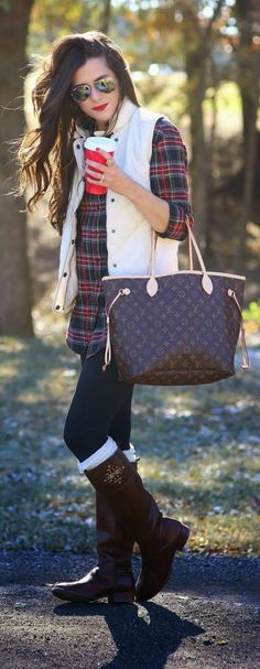 Oversize plaid shirt with leggings and puffer vest