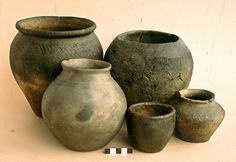 Iron Age pots, handbuilt. Canterbury.