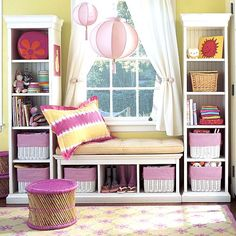Precious DIY window seat... storage bench with 2 tall bookshelves around a window in any room.