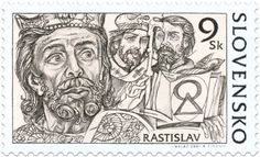 Rastislav - The Great Moravian Rulers - a set of four stamps, Slovakia