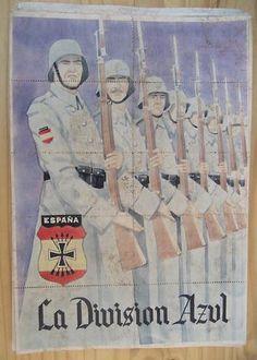 """Carteles """"originales"""" de época de la División Azul :: memoriablau Nazi Propaganda, Political Beliefs, Political Posters, Division, Roman Latin, German Army, Military Art, World War Two, Vintage Advertisements"""