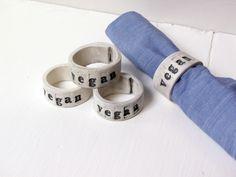 Vegan Napkin Ring.  HandBuilt Fired Ceramic Napkin by AcmeHumane, $8.00