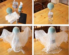 Spooky Floating Cheesecloth Ghost. Quick and easy Halloween decoration!