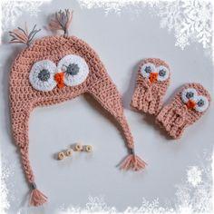 Baby uilenmuts & wantjes