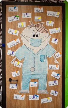 The kids got masks & surgical gloves and then went to town with their scalpels {scissors} cutting apart words and then bandaging new words {contractions} together.   I put them in small 'surgical teams' and each doctor got to perform surgery while the other team members assisted in surgery if the doc needed help.  I took all the bandaged words and then made a little anchor chart{ish} to remind the kids what we learned.