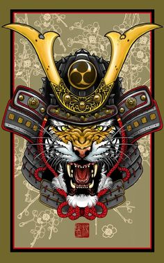 """Tiger Kabuto"" Art Print by Elvin Tattoo on Artsider.com"