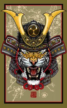 """""""Tiger Kabuto"""" Art Print by Elvin Tattoo on Artsider.com"""