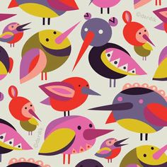 I& forever in search of interesting color combinations. Wanted this pattern to make chirping sound in your head:) Magazine Illustration, Pattern Illustration, Graphic Illustration, Bird Patterns, Textile Patterns, Print Patterns, Scandinavian Folk Art, Bird Art, Pattern Wallpaper