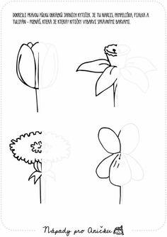 květiny Art Worksheets, Preschool Worksheets, Mazes For Kids, Art For Kids, Pencil Design, Language Lessons, Spring Activities, Printable Crafts, Doodles