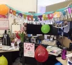 Desk Celebration Decorations That Are Way Too Fun For Work - Glitter banner from Target Goodbye Coworker, Goodbye Gifts, Cubicle Birthday Decorations, Desk Decorations, Coworker Birthday Gifts, Good Pranks, Office Decor, Happy Birthday, Birthday Ideas