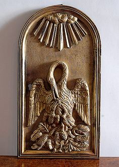 19th Century Bronze Tabernacle Door with Image of the Pelican Feeding its Young