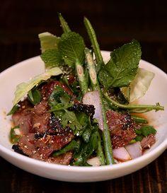 Long Chim's David Thompson shares his nahm dtok muu (aka grilled pork Thai salad) recipe with Gourmet Traveller.