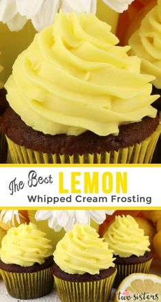 The Best Lemon Whipped Cream Frosting The Best Lemon Whipped Cream Frosting - a light and creamy frosting with just the right amount of lemon flavor. A great frosting for Spring and Summer! Perfect for when you need a frosting a little lighter than butter Lemon Recipes, Cream Recipes, Baking Recipes, Whipped Icing Recipes, Lemon Icing Recipe, Cupcake Recipes, Cupcake Cakes, Dessert Recipes, Homemade Cupcake Icing