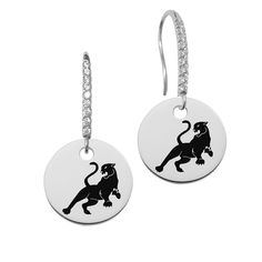 Sigma Lambda Gamma Symbol Round Charm and CZ Earring in Solid Sterling Silver