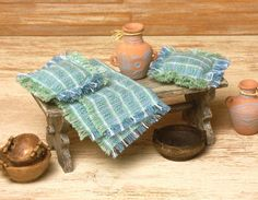 Miniature Cotton Blanket with Pillows for Your by DinkyWorld