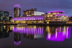 Salford Quays by Night, Manchester UK