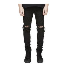 Knee Holes Frayed Zipper Fly Narrow Feet Ripped Jeans ($22) ❤ liked on Polyvore featuring men's fashion, men's clothing, men's jeans, mens distressed jeans, mens destroyed jeans, mens zipper jeans, mens frayed jeans and mens torn jeans