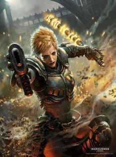 Can't talk, shootan thangs. By Marek Okon. A Sister of Battle for the Warhammer 40k Universe.---don't think this is a sister of battle she's an enforcer (police officer)