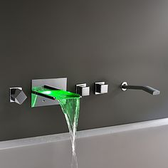 Wall Mount Chrome Finish Color Changing LED Waterfall Tub Faucet – USD $ 398.49