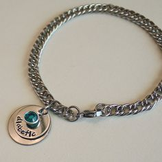 Medical Alert Charm Bracelet with ICE Info - stainless steel bracelet and discs - Swarovski channel crystal or round pearl dangle