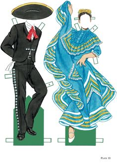 Mexican Folk Dance Paper Dolls, Join The Fiesta of traditional Mexican Costumes! -Tom Tierney Plate 11