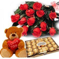 12 Red Roses Cute Teddy 8Pcs Ferreo Rocher Ferrero Chocolate