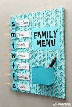 DIY-Meal-planning-menu-board-aP-vertical // Home Decoration DIY Cute Crafts, Crafts To Do, Diy Crafts For Home, Cute Diy Crafts For Your Room, Diy For Room, Family Crafts, Home Projects, Craft Projects, Planning Menu