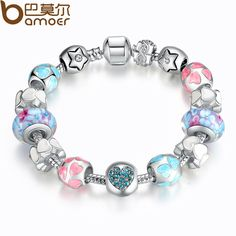 Aliexpress 925 Silver Heart Start Crystals LOVE Colorful Girl Murano Beads Bracelet for New Year Gift PA1871