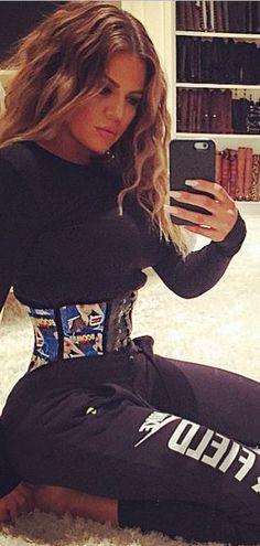59931ab724 Khloe Kardashian s black pants and waist trainer street style id Khloe  Kardashian Revenge Body