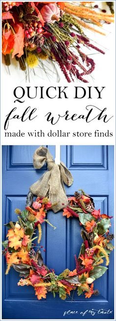 QUICK AND EASY FALL WREATH FROM THE DOLLAR STORE
