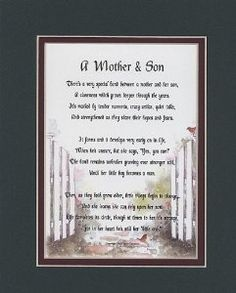 Wedding Gift A Mother Son Touching Poem Double Matted In Dark Green Over Burgundy And Enhanced With Watercolor Graphics For