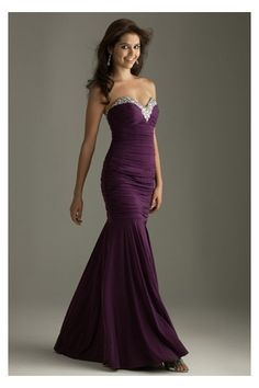 Graceful Dark Purple Mermaid Prom Gown with Exquisite Sequins and Crystals