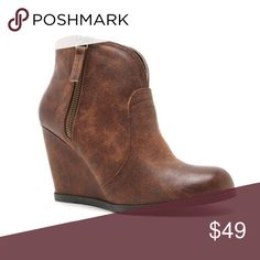 •COMING SOON• Distressed Cognac Ankle Booties Taupe cognac ankle booties. Distressed vegan leather. Available soon in almost all sizes. Comment size below for arrival notification. They will be $49. More photos soon. Shoes Ankle Boots & Booties