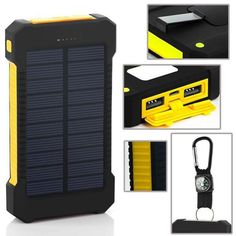 10000mah Power Bank Solar Panel Charger For Mobile Phone's Waterproof Shockproof Backup Portable. #powerbank #recharge #cellphone #mobilephone #camping #outdoors #tech #technology #cheap #quality #solarcharge #solarpower #iphone #samsung #smartphone #notebook #tablet