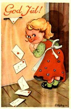 Julekort Elbjørg Øien Moum Utg Damm 1940-tallet Christmas Postcards, Christmas Cards, Norway, Christmas E Cards, Xmas Cards, Stamped Christmas Cards, Merry Christmas Card, Christmas Card Sayings