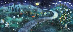 Nighttime Original Illustration by Kristina14 on Etsy, $150.00